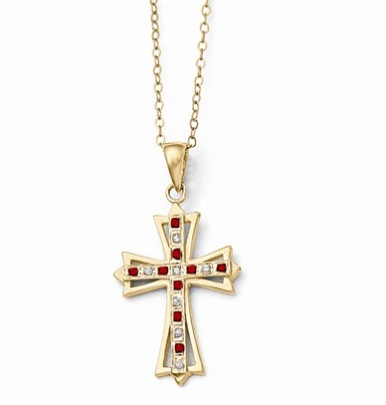 Sterling silver ruby cross pendant 18 waller company jewelers sterling silver ruby cross pendant 18 aloadofball Choice Image