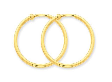 14k Yellow Gold Non Pierced Hoop Earrings