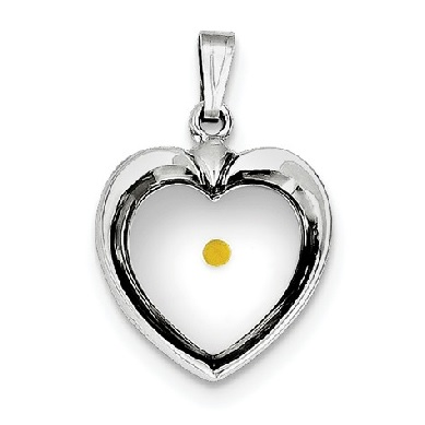 Sterling Silver Rhodium Plated Heart With Mustard Seed Pendant