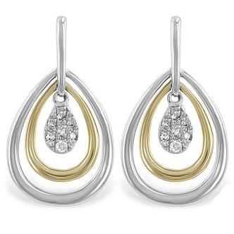 14k Gold Diamond Tear Drop Two Tone Earrings
