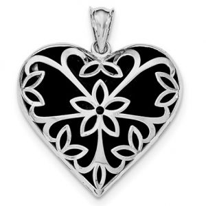 WQQP4493 Sterling Silver Rhodium-plated Onyx Heart Pendant
