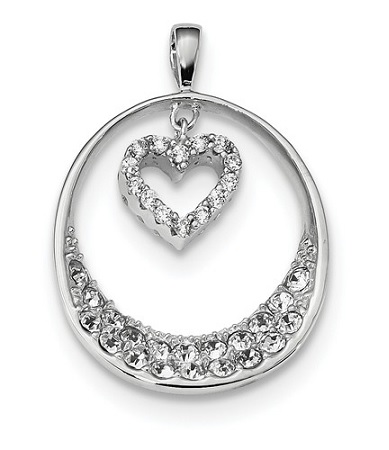 Sterling Silver Rhodium-plated CZ Oval with Dangle Heart Pendant