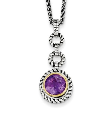 Sterling Silver with Gold-tone Flash GP Amethyst Necklace