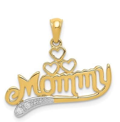 14k gold polished with 02 diamond mommy pendant waller company diamond mommy pendant aloadofball Image collections